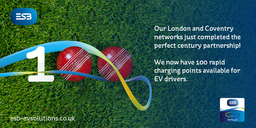 Our London and Coventry networks just completed the perfect century partnership! We now have 100 rapid charging points available for EV drivers.